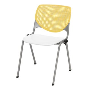 Kool Yellow and White Polypropylene Stack Chair with Perforated Back