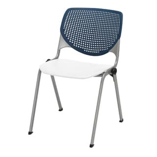 Kool Poly Stack Chair with Navy Perforated Back, White Seat