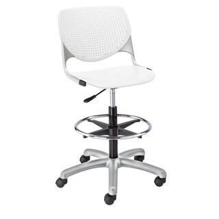 Kool White Adjustable Drafting Stool