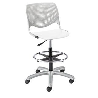 KOOL Light Grey Back/White seat Adjustable Drafting Stool