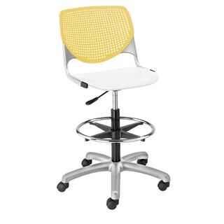 KFI Seating KOOL White and Yellow Polypropylene Adjustable Drafting Stool