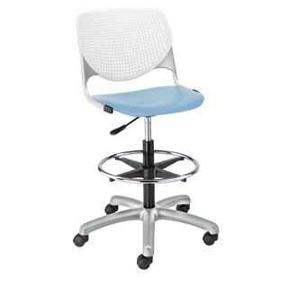 KOOL White Back/Sky Blue Seat Adjustable Drafting Stool
