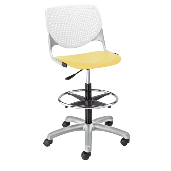 KFI Seating KOOL Poly Adjustable Drafting Stool With White Back And Yellow  Seat