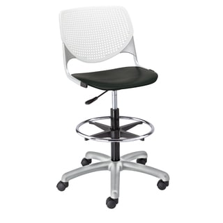 Kool White/ Black Adjustable Drafting Stool