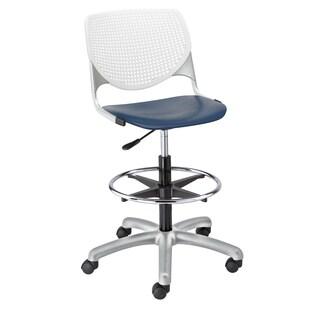 KFI Seating KOOL White Back, Navy Seat Polypropylene, Steel Adjustable Drafting Stool