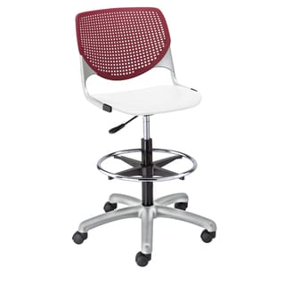 KOOL Poly Adjustable Drafting Stool with Burgundy Back and White Seat