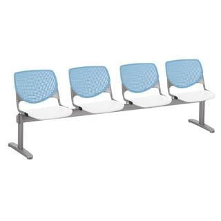 KOOL Sky Blue Back, White Seat 4-seat Beam Seating