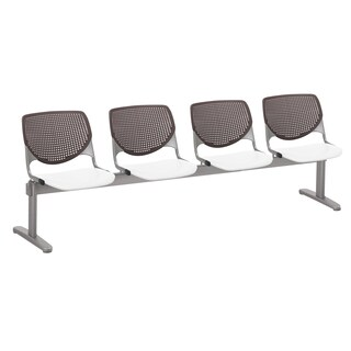 KOOL 4-seat Beam Seating with Brownstone Back and White Seat