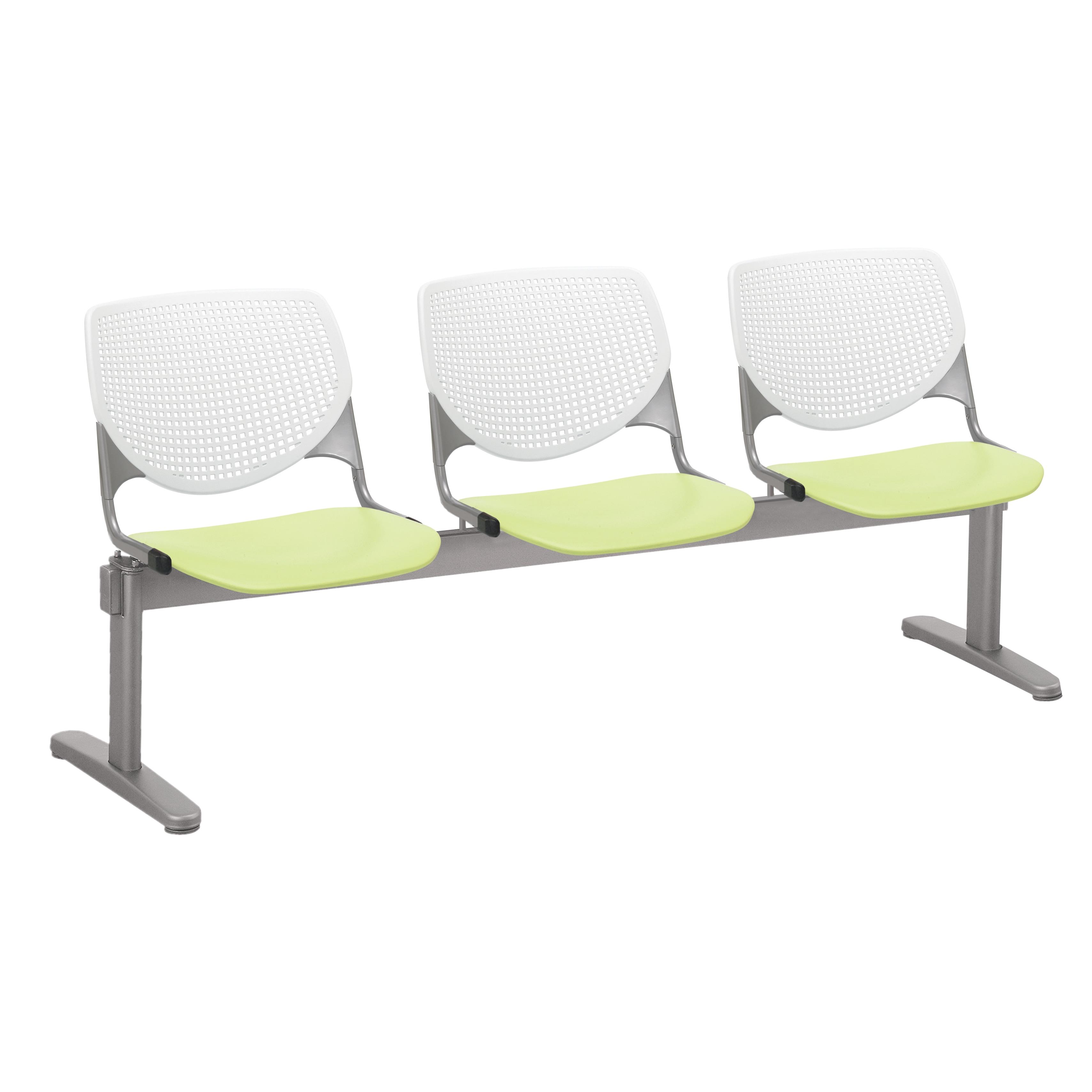 KFI KOOL 50 Seat Waiting Room Chair, White Back, Lime Green Seat - 50 seats