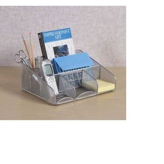 Silver Mesh Steel Desk Station Organizer