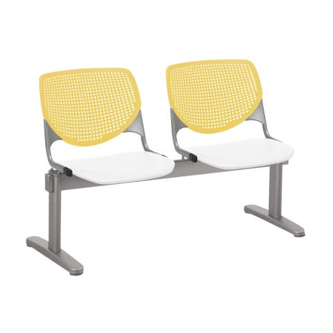 KFI KOOL 2 Seat Waiting Room Chair, Yellow Back, White Seat - 3 seats