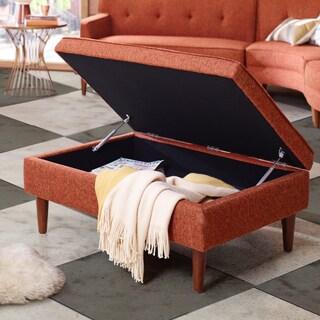 INK+IVY Monroe Orange and Pecan Rectangular Storage Bench