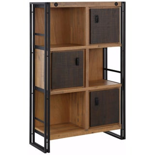 Indira Acacia Wood and Metal 3-Door Bookcase