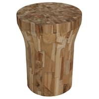Shop Bare Decor Stonehenge Solid Teak Wood Stump End Table