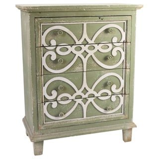 Jeco Sage Green 4-tiered Drawer With White Pattern
