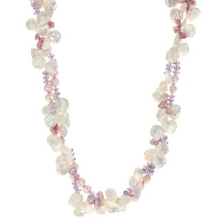 Pearls For You 14k Yellow Gold Keishi Freshwater Pearl and Amethyst Necklace