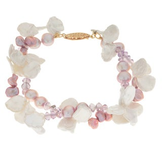 Pearls For You 14k Yellow Gold Keishi Freshwater Pearl and Amethyst Bracelet
