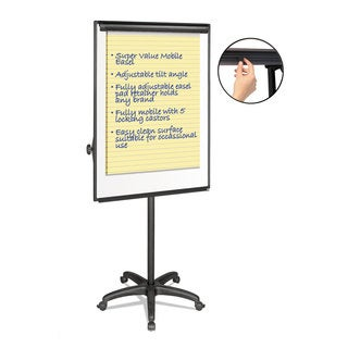 MasterVision Silver Easy Clean Dry Erase Mobile Presentation Easel 44 inches to 75-1/4 inches High