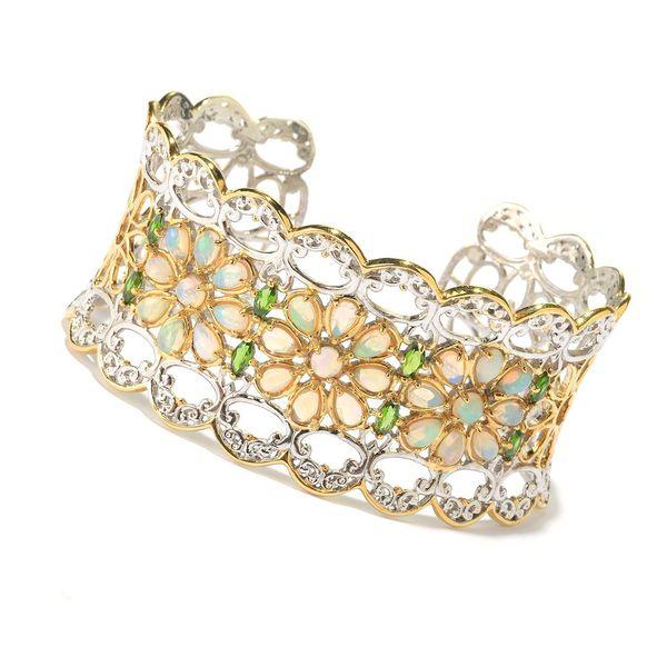Michael Valitutti Palladium Silver Ethiopian Opal & Chrome Diopside Three-Flower Cuff Bracelet