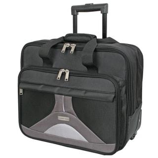 Geoffrey Beene Black Nylon 17-inch Tech Rolling Laptop Case