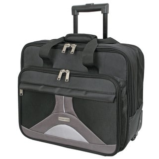 Geoffrey Beene Black Nylon 17-inch Tech Rolling Laptop Case