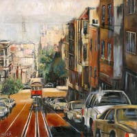 'Quiet Dawn in San Francisco' Painting Print on Wrapped Canvas - Orange