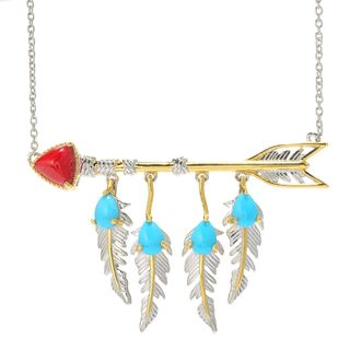 Michael Valitutti Palladium Silver Red Bamboo Coral & Sleeping Beauty Turquoise Arrow & Feather Necklace