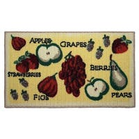 """Tossed Fruits Printed Textured Loop Oblong Kitchen Accent Rug - 1'5"""" x 2'5"""""""