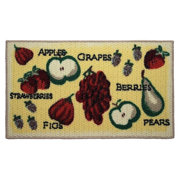 Shop Tossed Fruits Printed Textured Loop Oblong Kitchen