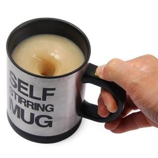 Silver Stainless Steel Self-stirring Coffee Mug