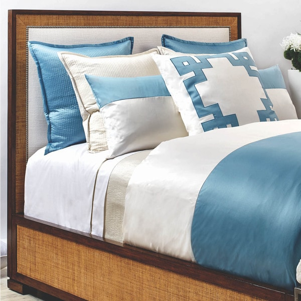 Ann Gish Ivory and Aegean Blue Colorblock 3-Piece Duvet Cover Set