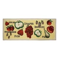 """Tossed Fruits Printed Textured Loop Runner Kitchen Accent Rug - 1'6"""" x 4'"""