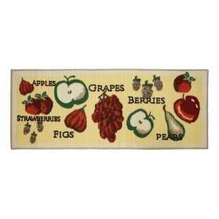 Tossed Fruits Printed Textured Loop Runner Kitchen Accent Rug - (20 x 48 in.)