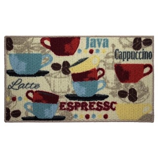 Coffee Printed Textured Loop Oblong Kitchen Accent Rug - 18 x 30 in.