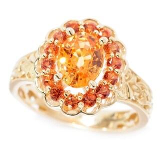 Michael Valitutti Palladium Silver 14K Gold Spessartite & Orange Sapphire Flower Ring