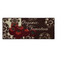 """Tomatoes Printed Textured Loop Runner Kitchen Accent Rug - Red/Brown - 1'6"""" x 4'"""