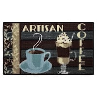"Artisan Coffee Printed Textured Loop Oblong Kitchen Accent Rug - 1'5"" x 2'5"""