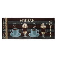 "Artisan Coffee Printed Textured Loop Runner Kitchen Accent Rug - 1'6"" x 4'"
