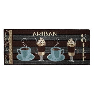 Artisan Coffee Printed Textured Loop Runner Kitchen Accent Rug - 20 x 48 in.