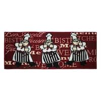 "Bistro Chef Printed Textured Loop 20 x 48 in. Runner Kitchen Accent Rug - 1'6"" x 4'"
