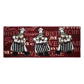 Bistro Chef Printed Textured Loop 20 x 48 in. Runner Kitchen Accent Rug -