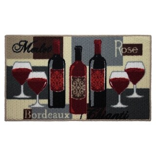 Wine Time Printed Textured Loop Oblong Kitchen Accent Rug - (18 x 30 in.)