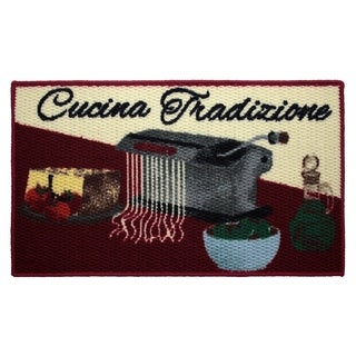Cucina Tradizione Printed Textured Loop Oblong Kitchen Accent Rug - (18 x 30 in.)