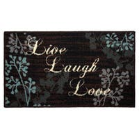 """Live Laugh Love Printed Textured Loop Oblong Kitchen Accent Rug - 1'5"""" x 2'5"""""""