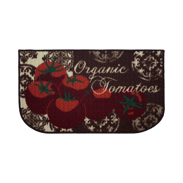 Tomatoes Printed Textured Loop Wedge-Shaped Kitchen Accent Rug - (18 x 30 in.)