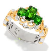 Michael Valitutti Palladium Silver Cushion Shaped Chrome Diopside Three-Stone Scrollwork Band Ring