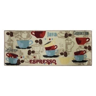 "Coffee Printed Textured Loop Runner Kitchen Accent Rug - 1'6"" x 4'"