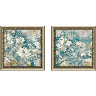 "Art Sets of 2 Twin Set Matching ""Golden Dogwood II"" Framed Acrylic Wall Decor"