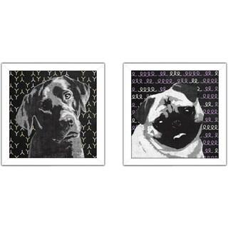 "Art Sets of 2 Twin Set Matching ""Pug"" Framed Acrylic Wall Decor"