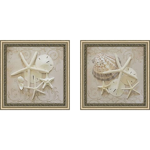 "Art Sets of 2 Twin Set Matching ""White Shells II"" Framed Acrylic Wall Decor"